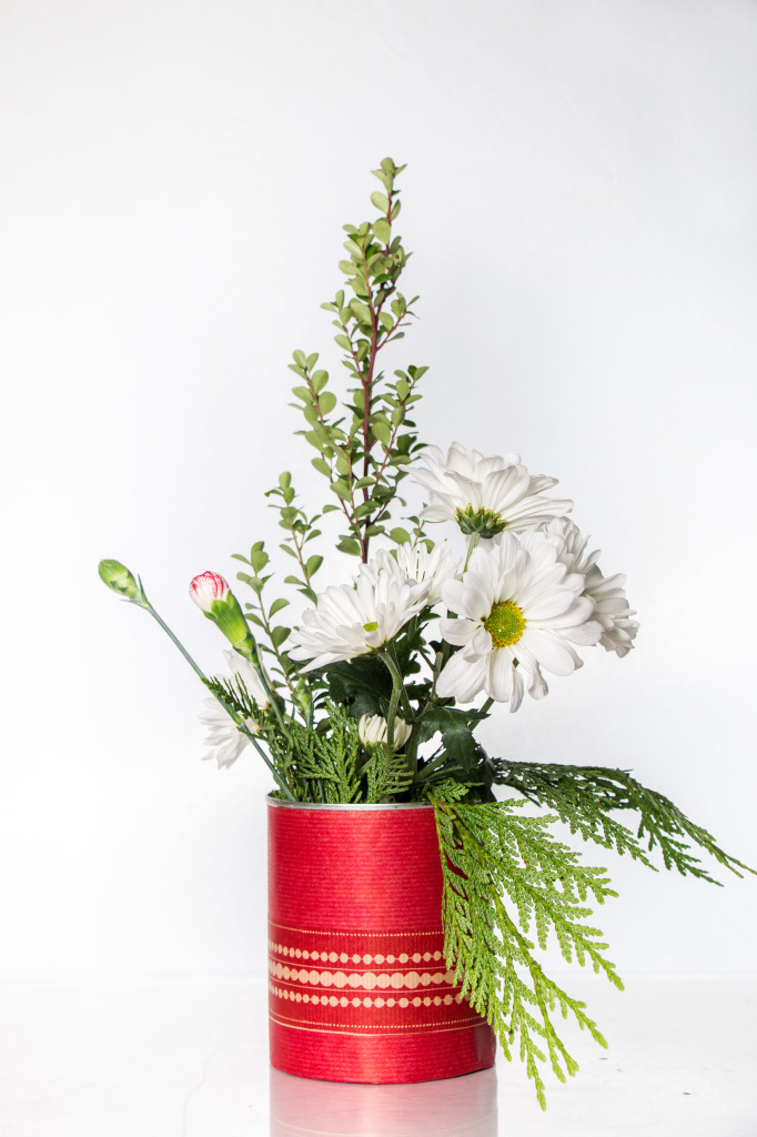 Tin Can & Wrapping paper Holiday Centerpiece